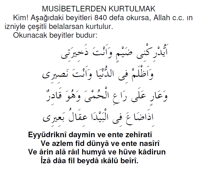 Musibetlerden Kurtulmak İçin