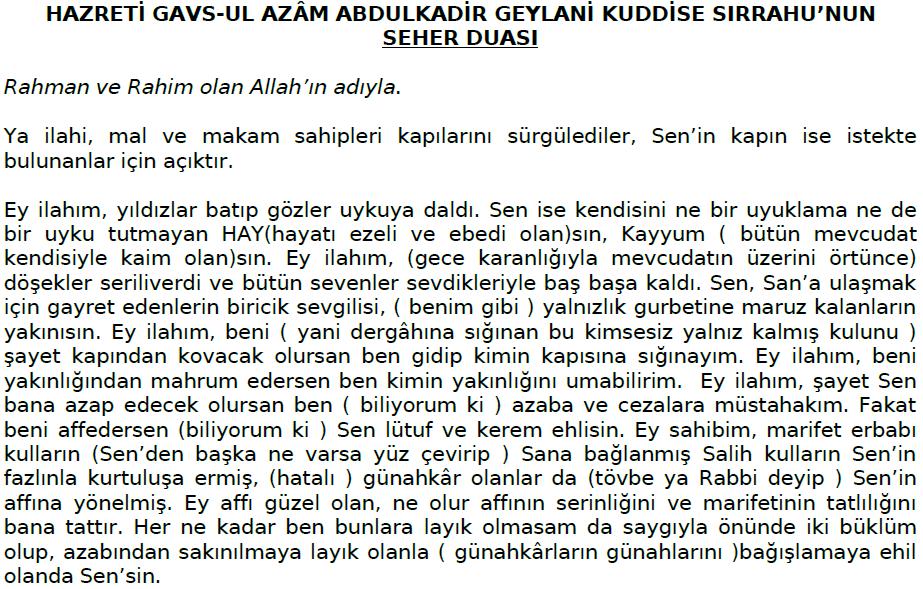 Gavs-ul Azam Abdulkadir Geylani  H.zlerinin Seher Duası