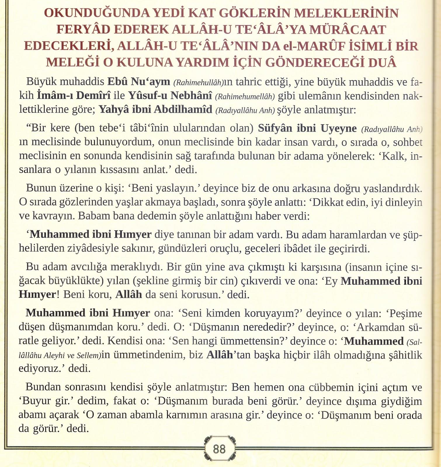 Allâh-u Teâlânın el-Maruf İsimli Bir Melekle Yardım Göndereceği Dua