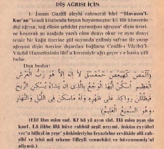 Diş Ağrısı İçin (imam Gazali)