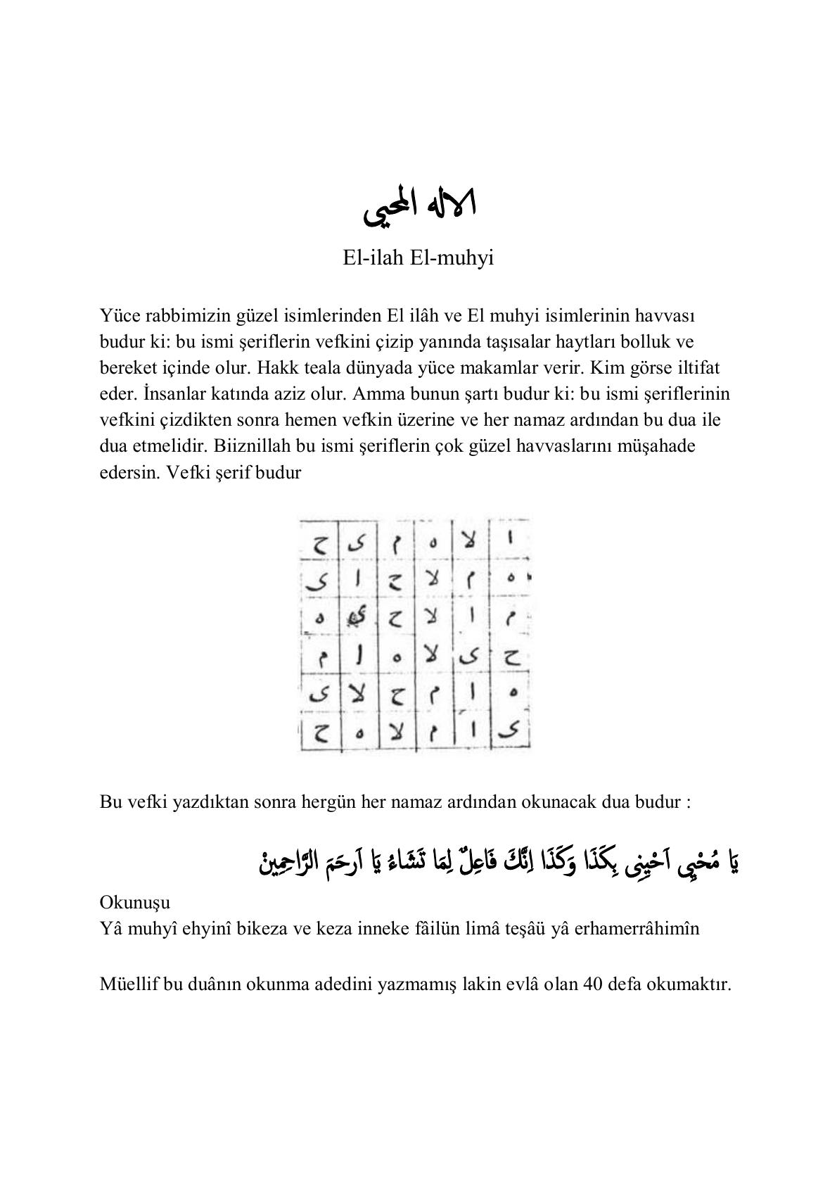 El-ilah ve El-muhyi havvasları